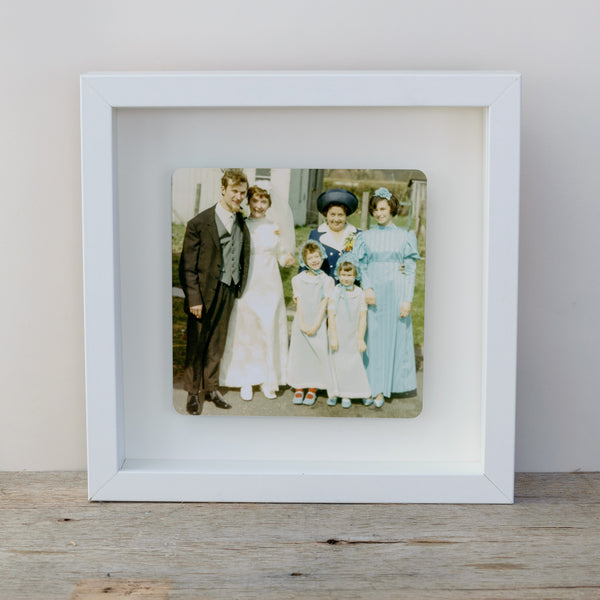 Photo Upload Box frame wall art gift idea to display old photos - white frame colour photo