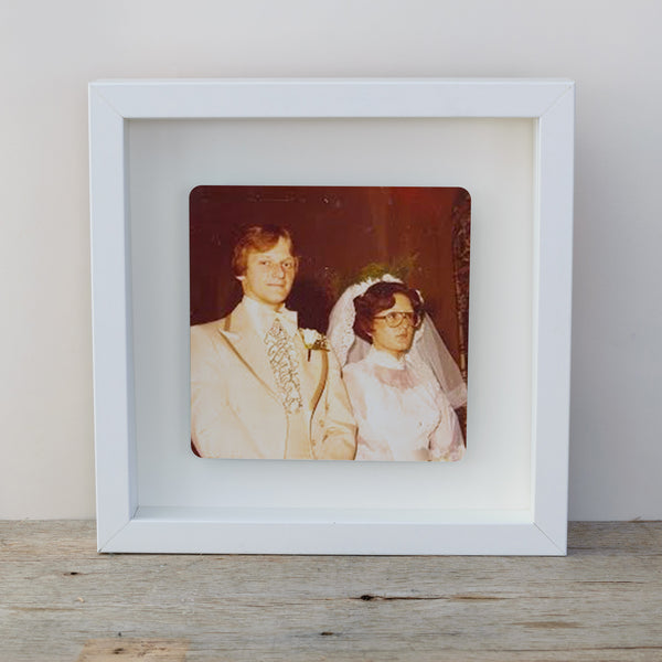 Photo Upload Box frame wall art gift - white frame vintage wedding photo