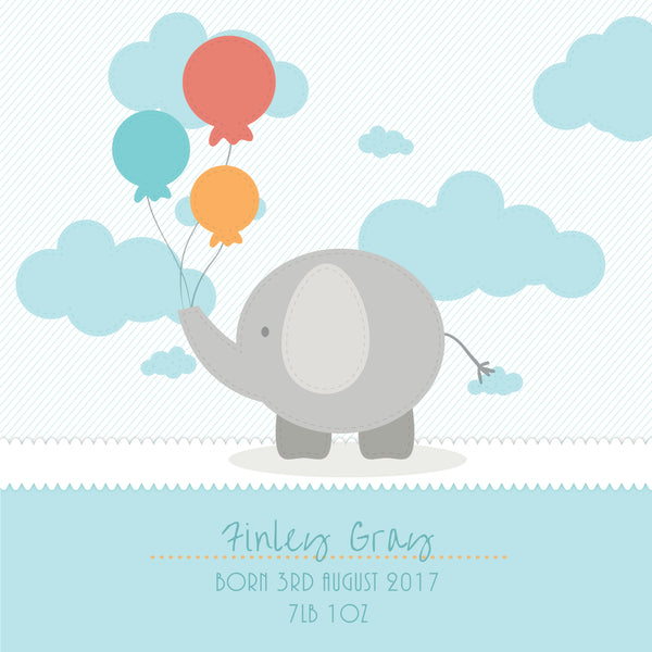 Gift for new baby - cute elephant box frame - blue style detail