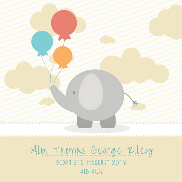 Gift for new baby - cute elephant box frame - yellow style detail