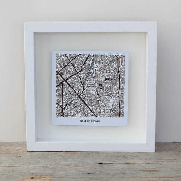 Football Stadium Map Box Frame Father's Day Gift for Football Fans - Vintage style White frame