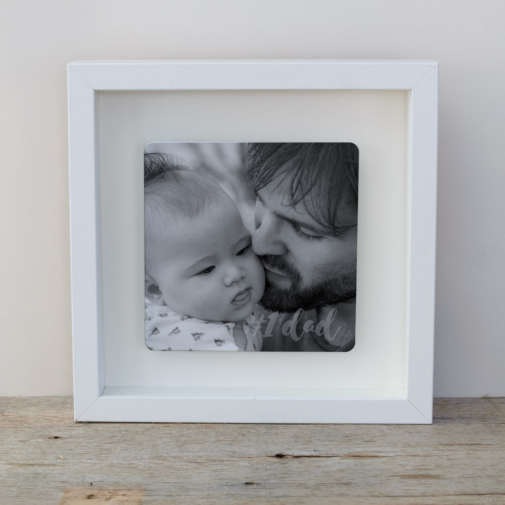 #1 Dad Photo Upload Box Frame