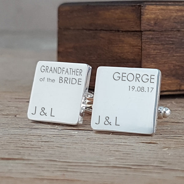Wedding Party Role & Name Classic Square Engraved Cufflinks