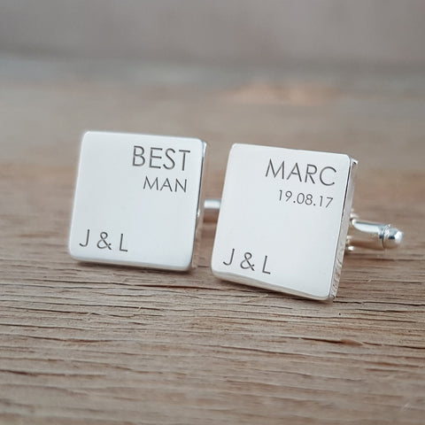 Engraved Best Man Personalised Cufflinks