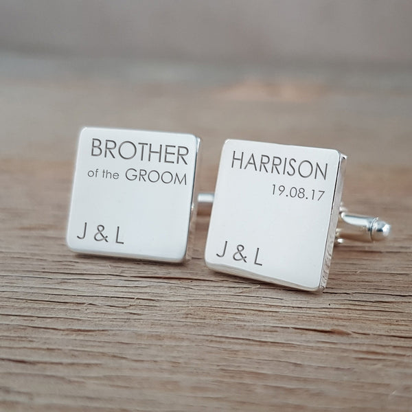 Wedding Party Role & Name Classic Square Engraved Cufflinks Bundle