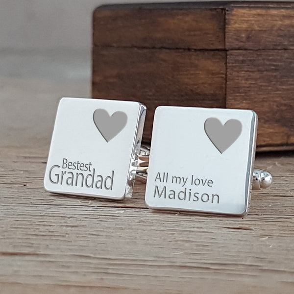 Bestest Daddy / Grandad Hearts Cufflinks