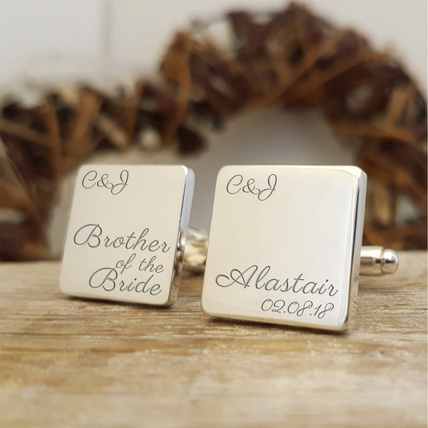 Brother of the Bride Engraved Personalised Cufflinks - Script