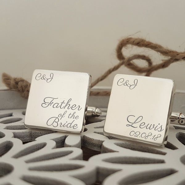 Father of the Bride Engraved Cufflinks for Wedding Party - Script