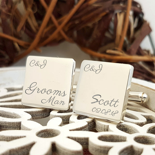 Groomsman Engraved Personalised Wedding Cufflinks - Script
