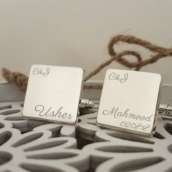 Usher Engraved Personalised Wedding Cufflinks - Script