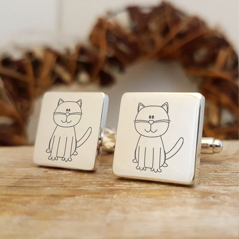 Upload your own design engraved cufflinks - cat motif