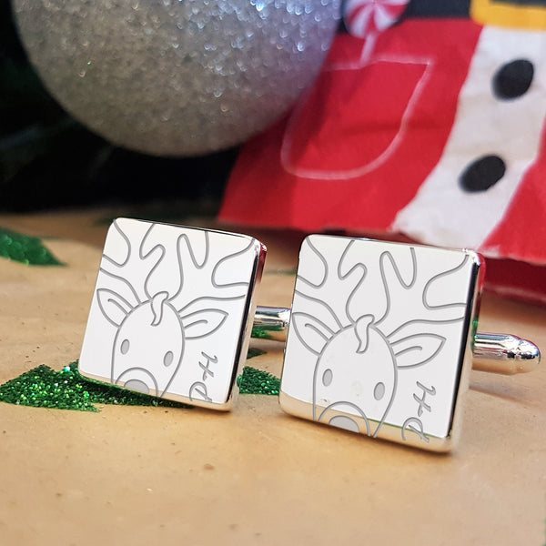Rudolph Engraved Christmas Cufflinks Gift - With Initials Personalisation