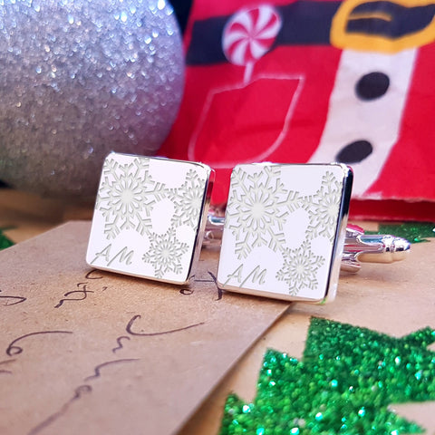 Snowflakes Engraved Cufflinks