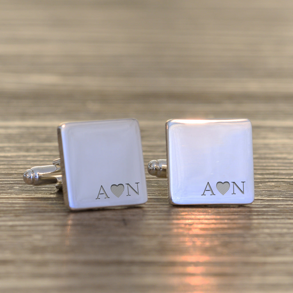 Heart Initials Engraved Cufflinks