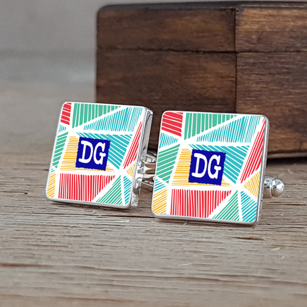 Bright Funky Love Patterned Cufflinks