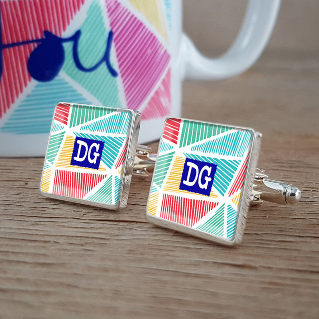 Vicky Yorke Bright Funky Personalised Cufflinks for birthday or anniversary
