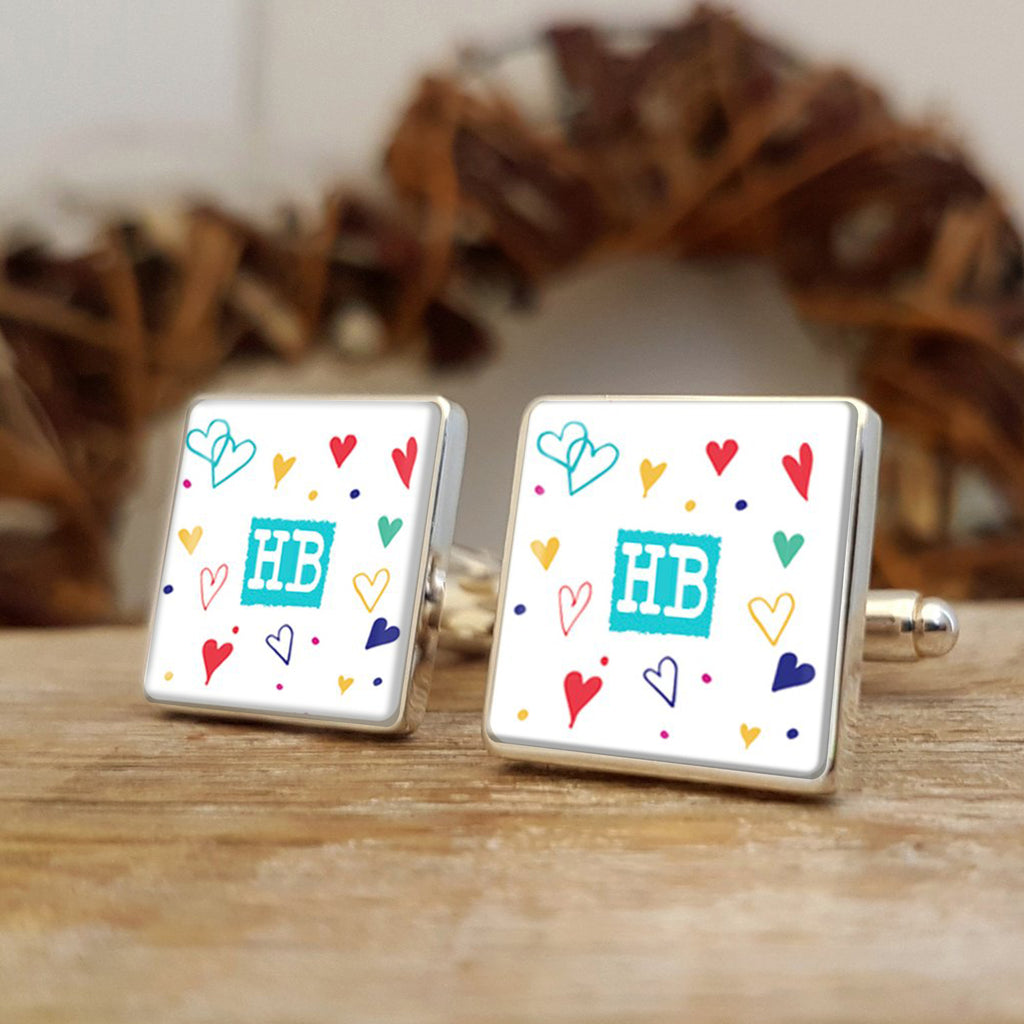 Vicky Yorke Cute Hearts Initials Cufflinks Personalised Gift for him