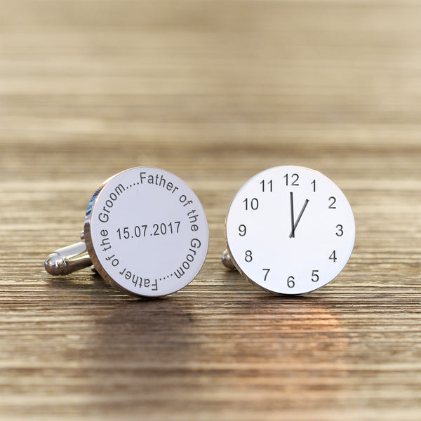 Wedding Party Role Time & Date Round Engraved Cufflinks