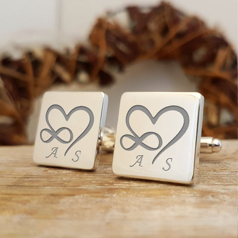 Infinity Heart Initials engraved cufflinks - square - Wedding gift