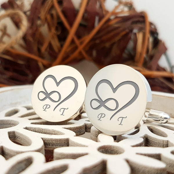 Infinity Heart Initials engraved cufflinks - round - Groom cufflinks - Wedding gift