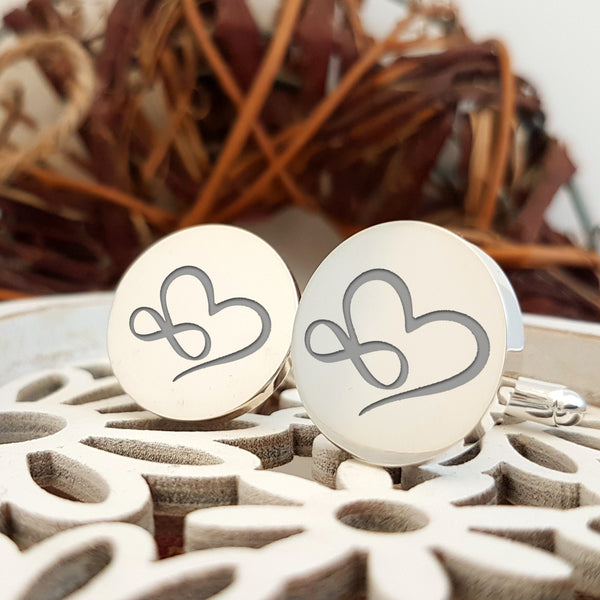 Infinity Heart Initials engraved cufflinks - round - no initials - Groom cufflinks - Wedding gift