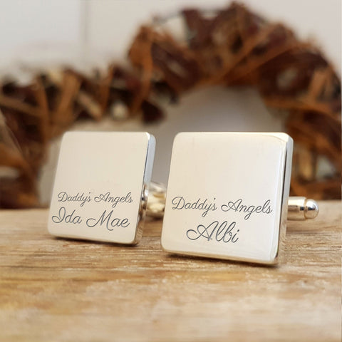Daddy's Angels Engraved Cufflinks