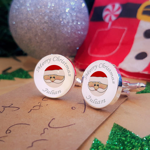 Cute Santa Engraved Cufflinks Christmas gift, stocking filler or Secret Santa under £20