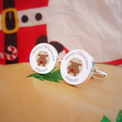 Embroidered Rudolph Engraved Cufflinks