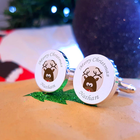 Cute Rudolph Engraved cufflinks - schristmas gifts, stocking fillers & secret santa gifts under £20