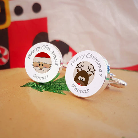 Santa & Rudolph Engraved cufflinks - secret santa gifts under £20