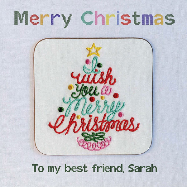 Embroidered Christmas Tree Personalised Greeting Card Coaster Gift - Ideal for Secret Santa. Showing coaster detail