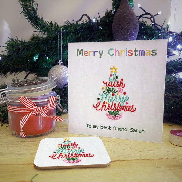 Embroidered Christmas Tree Personalised Greeting Card Coaster Gift - Ideal for Secret Santa. Showing coaster detached from card
