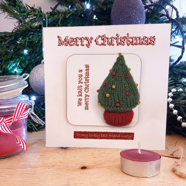 Cute Knitted Tree Christmas Coaster Card