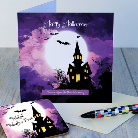Hallowe'en Spooky House Coaster Card