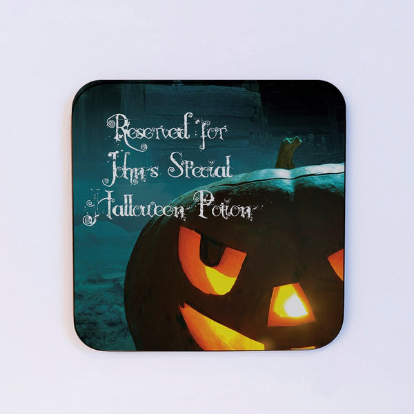 Scary Pumpkin Hallowe'en card and coaster gift - coaster detail