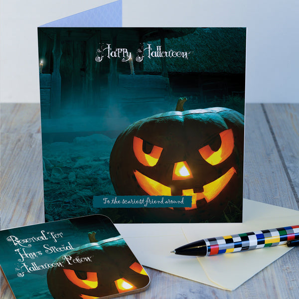 Scary Pumpkin Hallowe'en card and coaster gift with coaster detached