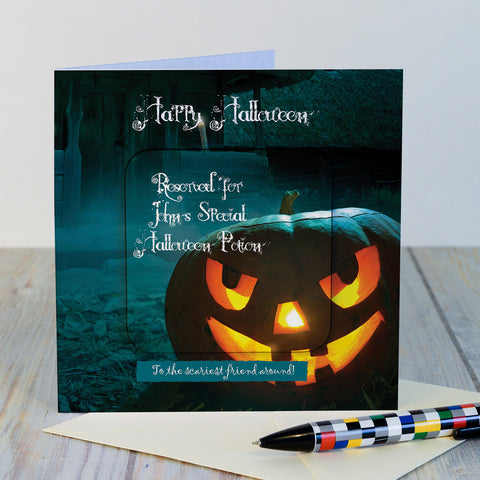Scary Pumpkin Hallowe'en card and coaster gift