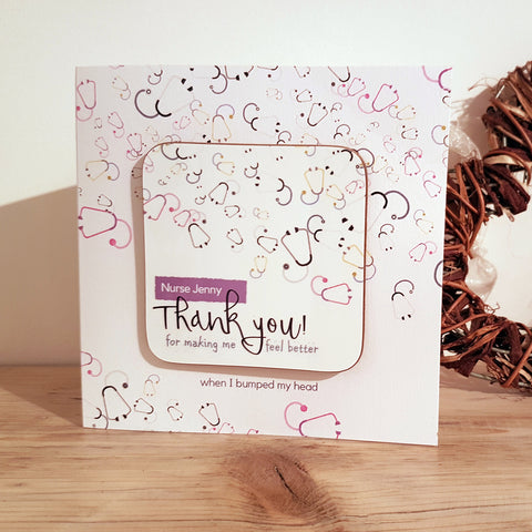 """Thank You for Making Me Feel Better"" Personalised Greeting Card Coaster"