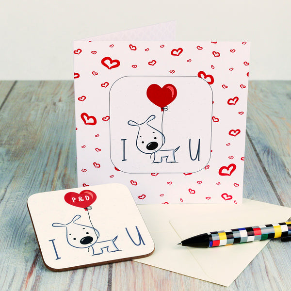 I Wuff You Personalised Valentine's Day Coaster Card with coaster removed
