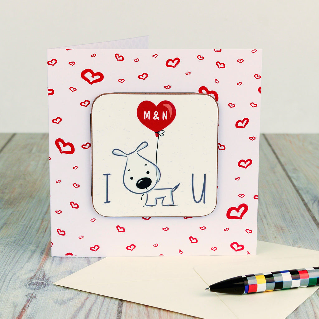 I Wuff You Personalised Valentine's Day Coaster Card