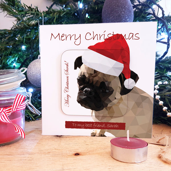 Santa Pug Personalised Coaster Card Stocking Filler with coaster attached