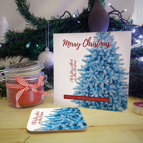 Blue Christmas Personalised Coaster Card Stocking Filler with coaster detached