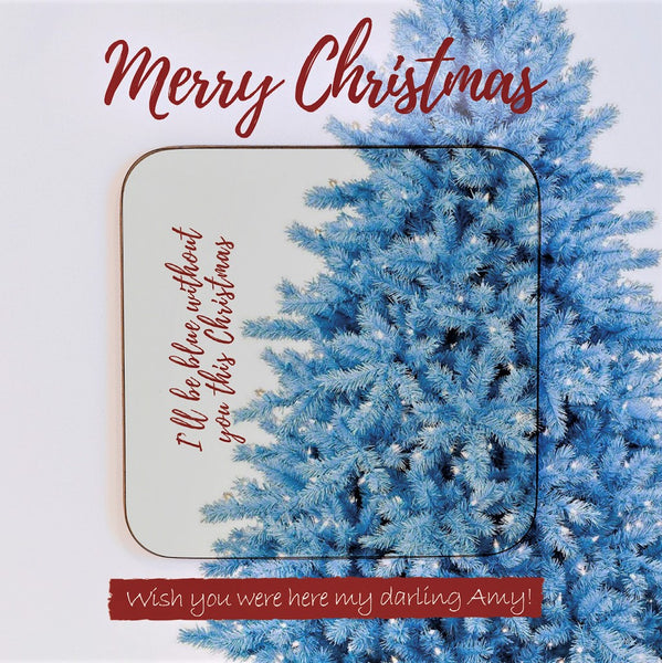 Blue Christmas Personalised Coaster Card Stocking Filler showing coaster detail