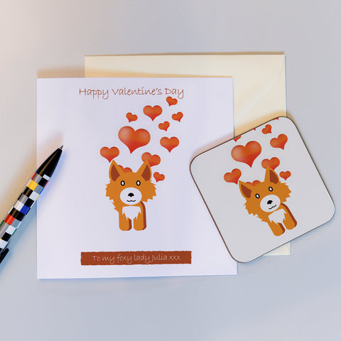 Frankie Fox Valentine's Card and Coaster gift
