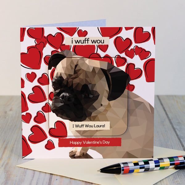 Herbie the Love Pug Valentine's Card and Coaster gift standing