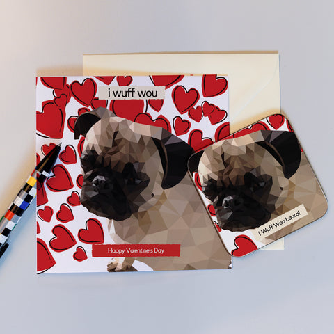Herbie the Love Pug Valentine's Card and Coaster gift