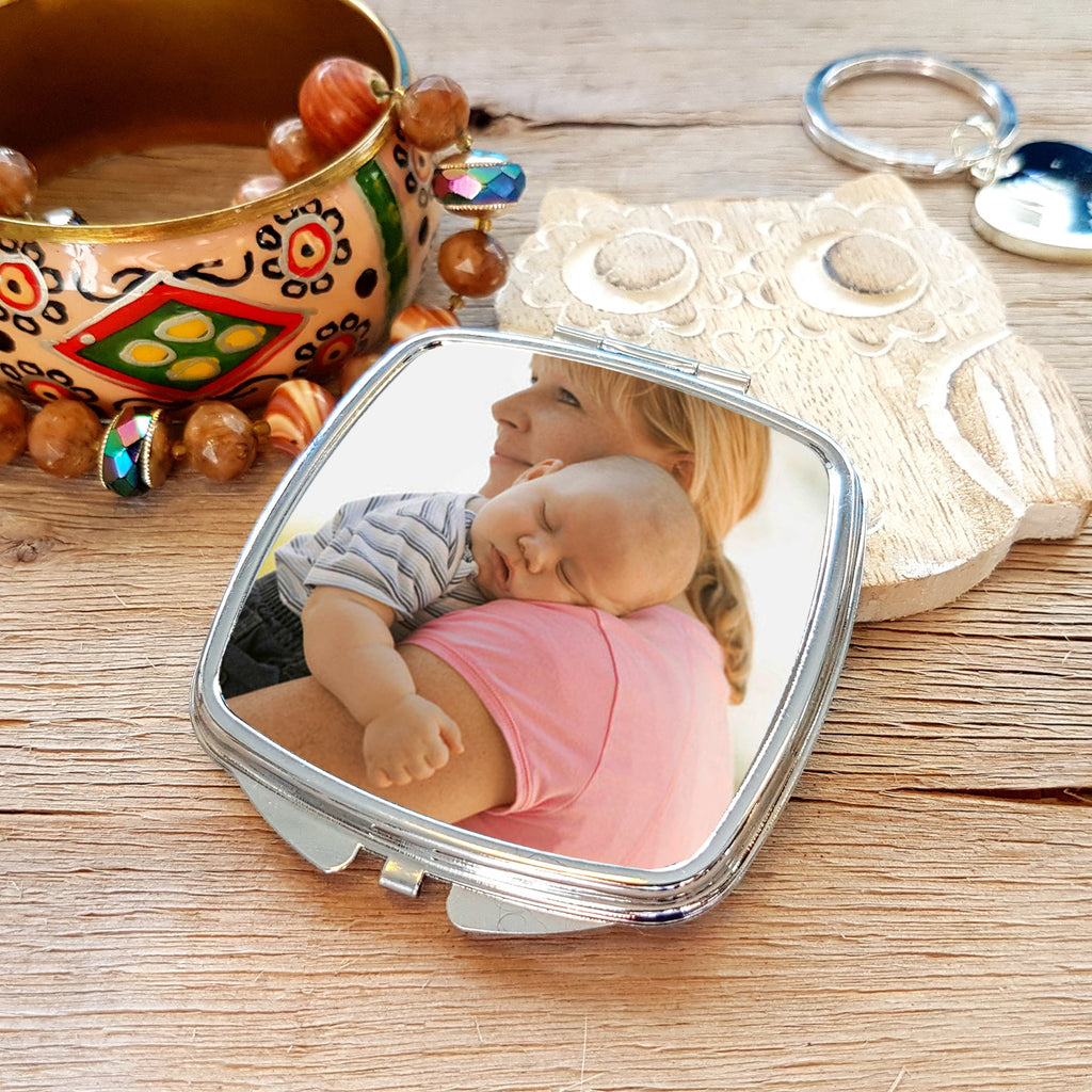 Photo Upload Silverplated Handbag Compact Mirror