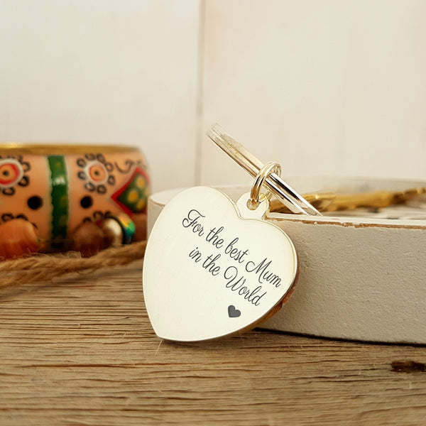 For the best Mum in the World engraved silverplated keyring - front