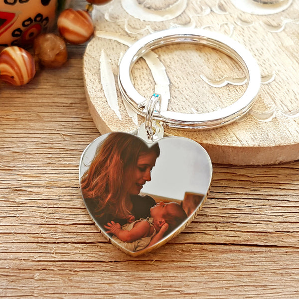 Photo Heart Keyring with Engraved Message