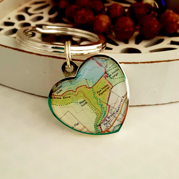 Map Heart Keyring Personalised and engraved Gifts for her